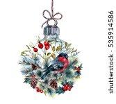 watercolor christmas glass ball ... | Shutterstock . vector #535914586