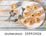 shot glass shrimp with tartar... | Shutterstock . vector #535915426