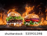 close up of home made burgers... | Shutterstock . vector #535931398