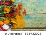 various colorful spices of the... | Shutterstock . vector #535932028