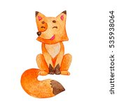 little bright watercolor fox in ... | Shutterstock . vector #535938064