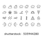 set of flat line weather icons. ...