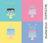 set of birthday cakes with... | Shutterstock .eps vector #535953748