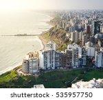 Stock photo lima peru aerial view of miraflores town in lima peru 535957750
