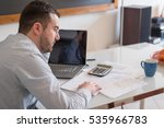 frustrated man calculating... | Shutterstock . vector #535966783