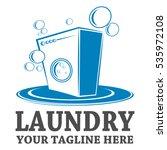 laundry logo template design | Shutterstock .eps vector #535972108