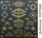set of vintage vector line... | Shutterstock .eps vector #535978468