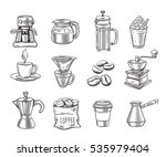 hand drawn decorative coffee... | Shutterstock .eps vector #535979404