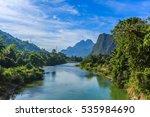 song river at vang vieng  laos | Shutterstock . vector #535984690