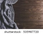 warm knitted crumpled gray... | Shutterstock . vector #535987720