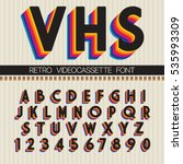 Stock vector  s retro font vector vhs alphabet 535993309