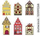icons set of 6 european houses. ...   Shutterstock . vector #535995268