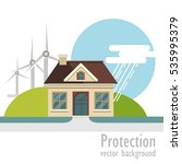 eco house with wind turbine.... | Shutterstock .eps vector #535995379