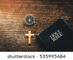 holy bible with small wooden... | Shutterstock . vector #535995484
