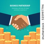 shaking hands business vector... | Shutterstock .eps vector #535997794