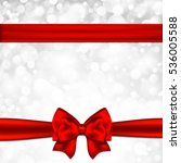 gift card with red bow. | Shutterstock . vector #536005588