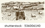 tractor collecting haystack in... | Shutterstock .eps vector #536006140