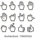 set of unusual pixelated hand... | Shutterstock .eps vector #53601016