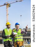 engineer and construction site... | Shutterstock . vector #536029624