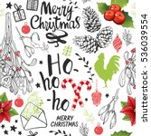 seamless new year pattern on... | Shutterstock .eps vector #536039554