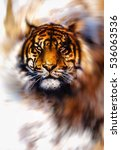 magical tiger in light swirl ... | Shutterstock . vector #536063536