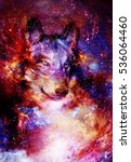 magical space wolf  multicolor... | Shutterstock . vector #536064460