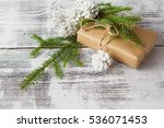 wrapping eco christmas packages ... | Shutterstock . vector #536071453
