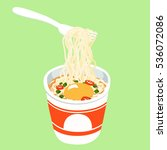 instant noodle in cup add egg... | Shutterstock .eps vector #536072086