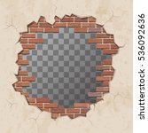 red broken brick wall with hole.... | Shutterstock .eps vector #536092636
