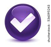 validate icon glassy purple... | Shutterstock . vector #536095243