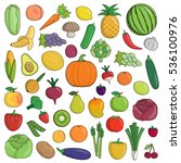xxl collection of flat fruit... | Shutterstock .eps vector #536100976