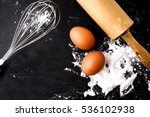 bakery cooking set on the black ... | Shutterstock . vector #536102938