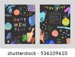 set of creative happy new year... | Shutterstock .eps vector #536109610