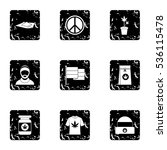 hashish icons set. grunge... | Shutterstock .eps vector #536115478