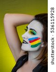 sensual girl with colorful... | Shutterstock . vector #536115928