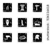 museum icons set. grunge... | Shutterstock .eps vector #536116618