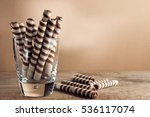 striped candy in a glass on a... | Shutterstock . vector #536117074