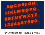 red isometric 3d font on blue... | Shutterstock .eps vector #536117488