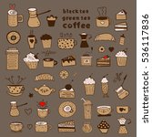 tea  coffee and desserts doodles | Shutterstock .eps vector #536117836