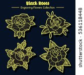 vector black roses set... | Shutterstock .eps vector #536118448