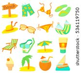 sea rest icons set. cartoon... | Shutterstock .eps vector #536119750