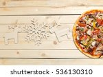 pizza with snowflakes... | Shutterstock . vector #536130310