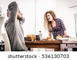 Stock photo couple fight hard in the morning 536130703