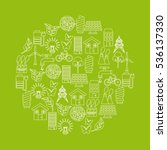green idea and ecology icons on ... | Shutterstock .eps vector #536137330