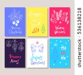 hand drawn christmas set cards. ... | Shutterstock .eps vector #536138218