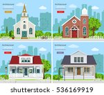 set with modern church... | Shutterstock .eps vector #536169919