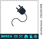 power cord icon flat. simple...