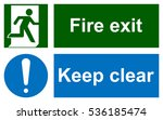 green emergency exit sign on... | Shutterstock .eps vector #536185474