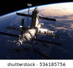 space station in outer space.... | Shutterstock . vector #536185756