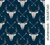 deer heads seamless pattern | Shutterstock .eps vector #536187160